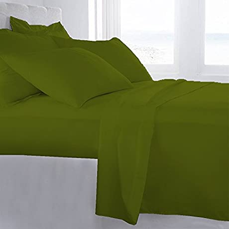 Lussona Collection 1200 Thread Count 200 GSM 100 Egyptian Cotton Quality 5 Piece Comforter Includes 1 PC Comfoter 4 PCs Sheet Set 15 Deep Pocket Cal King Parrot Green