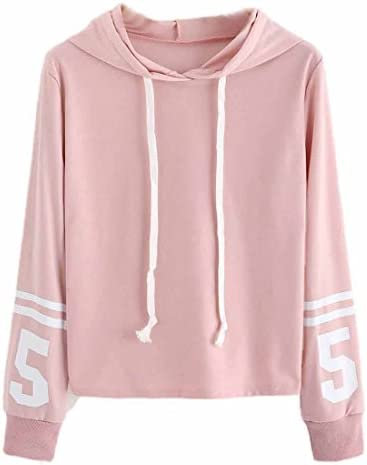 Buy Luca-Sweatshirt Long Sleeves Solid Hoodie Pullover Loose Sweatshirt  Jumper Crop Top Blouse Small Pink Online at Low Prices in India - Amazon.in 390c7e031