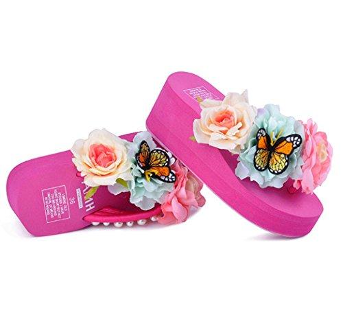 U-MAC Women's Wedge Platform Thong Sandals Butterfly Bohemian Beach Holiday Summer Flip Flops Rose Red