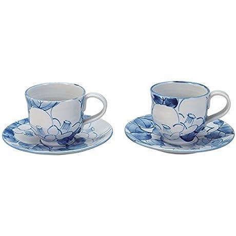 Kutani Yaki Blue Camellia 3 1inch Set Of 2 Cup Saucer Set White Porcelain