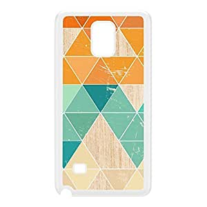 Geometric Triangles on Light Wood Texture White Hard Plastic Case for Galaxy Note 4 by UltraCases + FREE Crystal Clear Screen Protector