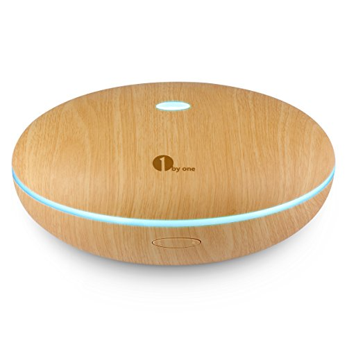 1byone 350ml Ultrasonic Aroma Diffuser Aromatherapy Oil Humidifier with 7 Color LED Whisper Quiet - Wood Grain