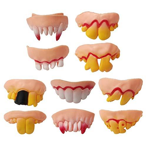 JIALONGZI Divertidas dentaduras de halloween simulan dientes de ...