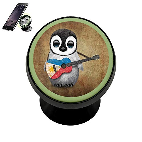 SJ Bracket Baby Penguin Playing Canadian Flag Acoustic Guitar Safeness & Comfort Magnetic Phone Car Mount Holder Universal 360 Rotation Stand Metal Mobile Phone