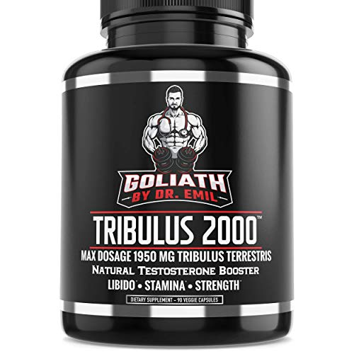 Goliath by Dr. Emil - Max Dose 1950 mg Tribulus Terrestris Extract Powder w 45% Steroidal Saponins - Libido and Testosterone Booster (90 Veggie Capsules)