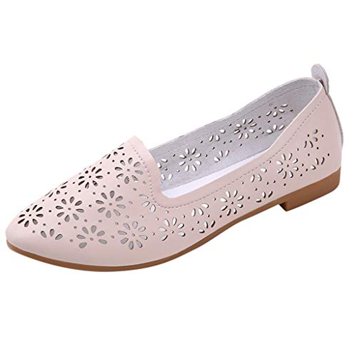 NEARTIMEWomen's Flat Shoes-Ladies Casual Shallow Pointed Toe Sandals Hollow Out Slip On Low Heels Work Shoes (Best Price On Chacos)