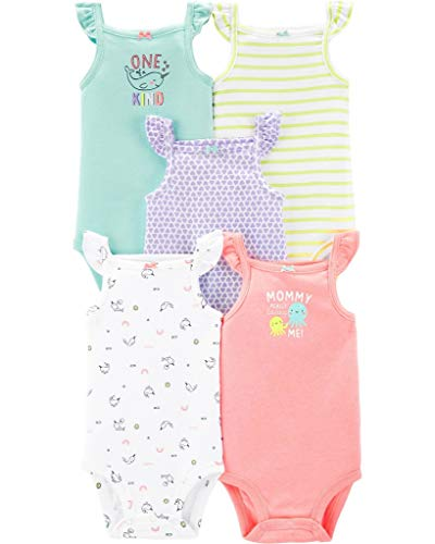 - Carter's Baby Girls 5 Pack Bodysuit Set, Flutter Tank, 12 Months