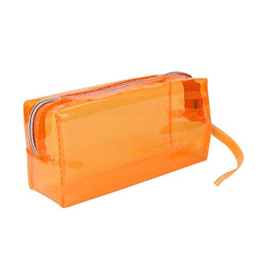 Oksale Transparent Zipper Big Pencil Pen Case Stationery Pouch Pocket Storage Bag (Light Blue) (Makeup In The 80s)