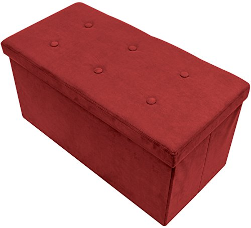 Sorbus Storage Ottoman Bench – Collapsible/Folding Bench Chest with Cover – Perfect Toy and Shoe Chest, Hope Chest, Pouffe Ottoman, Seat, Foot Rest, – Contemporary Faux Suede (Medium-Bench, Red)