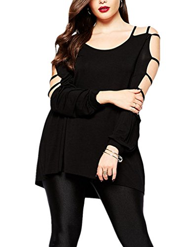 Dokotoo Womens Plus Size Overlay Hammock Cut out Swing Arm Blouse Tops XX-Large Black (Plus Size Women Clothing)