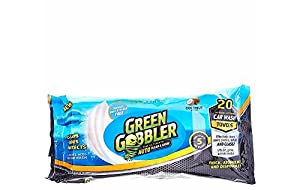 Green Gobbler CLEAN & SHINE Waterless Car Wash Auto Towels for Interiors & Exteriors cleaning (Super thick absorbent pre moistened towels,Coconut Scented) 20 Count + 2 Microfiber Cloths