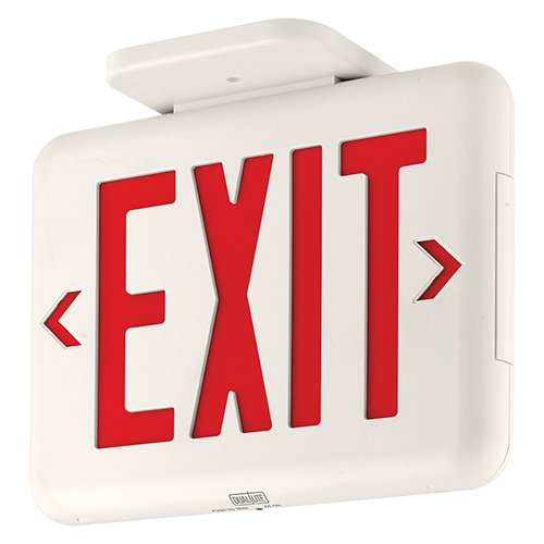 Dual-Lite EVEURWE LED Exit Sign, Red Letters - White (White Exit Sign)