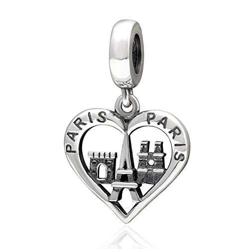 Xuthus Charms Paris Love Heart Shaped Antique Bead 925 Sterling Silver Architectural Charm Pendant For European Bracelets