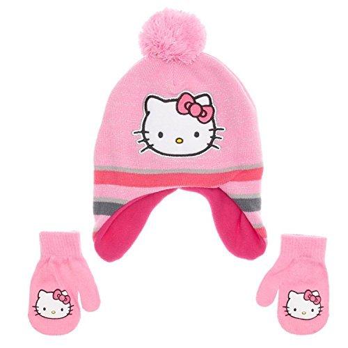 SANRIO Toddler Girls Hello Kitty Peruvian Hat & Mittens Set ()