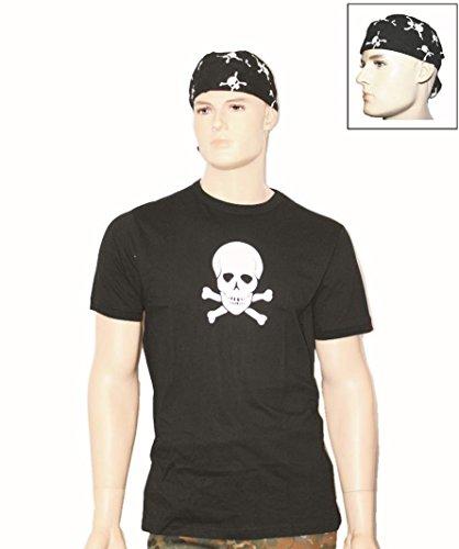 Piratenkostüm Totenkopf T-Shirt + Headwrap Bandana S-3XL + AOS-Outdoor® Flaschenöffner