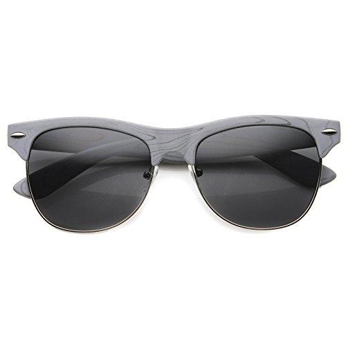 Classic Retro Wood Printed Half Frame Horn Rimmed Sunglasses