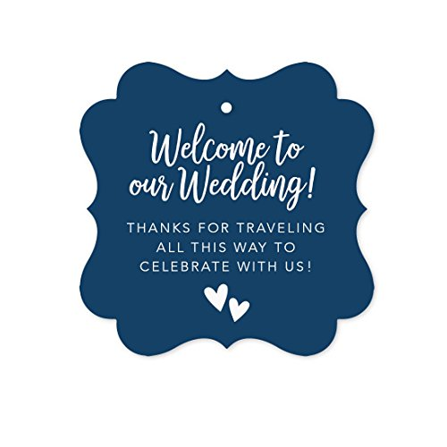 - Andaz Press Out of Town Bags Fancy Frame Gift Tags, Welcome to Our Wedding Thanks for Traveling to Celebrate with Us, Navy Blue, 24-Pack, for Destination OOT Gable Boxes
