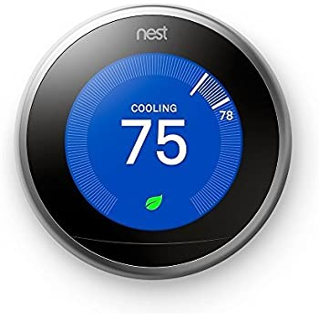Nest (T3007ES) Learning Thermostat, Easy Temperature Control for Every Room in Your House, Stainless Steel (Third Generation), Works with Alexa, Small