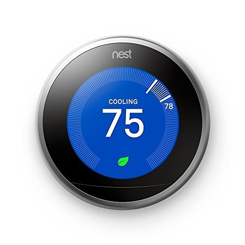 Nest Learning Thermostat, Easy Temperature Control for Every Room in Your House, Stainless Steel (Third Generation), Works with Alexa