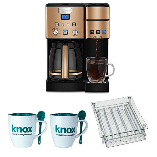 (Cuisinart SS-15CP 12 Cup Coffee Maker And Single-Serve Brewer, Copper Includes Coffee Pod Holder and 2 Mugs Bundle)