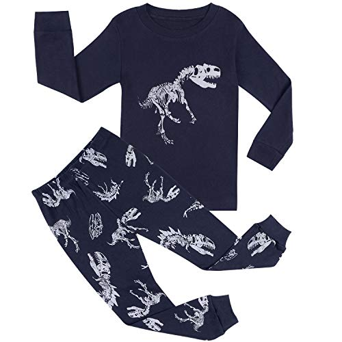 (BOOPH Boy Pajamas PjsDinosaur 100% Cotton 2 Piece Sleepwear Navy 7-8Y)