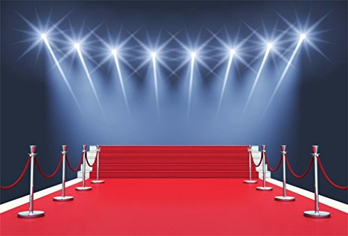 AOFOTO 7x5ft Stage Red Carpet Backdrop Star Catwalks Spotlight Photography Background Cine Film Show Event Celebrity Activity Premiere Award Movie Ceremony Photo Studio Props Party Banner Wallpaper from AOFOTO
