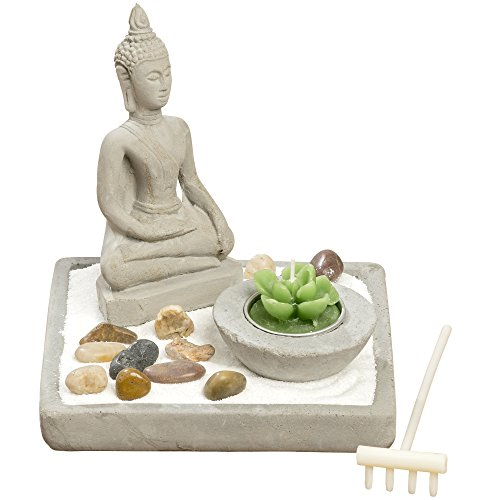 A Frame House Kits - The Namaste Table Top Zen Garden Plus Buddha, White Sand, Rocks, Candle and Rake, 5 1/2 Inches Tall, Mixed Materials, Gift Set, by WHW
