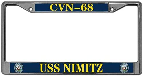 UV /& Water Resistant Vehicle License Plate Frame Custom Metal Frame US Navy License Plate Frame Tag Holder CVN-68 USS Nimitz US License Plate Frame with Free caps
