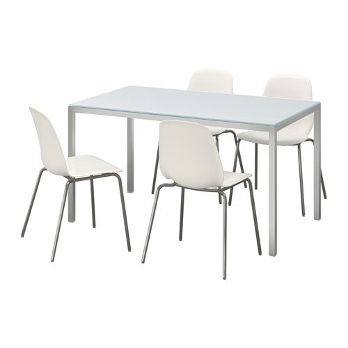 Ikea Table and 4 chairs, glass white, white 4204.20517.2238