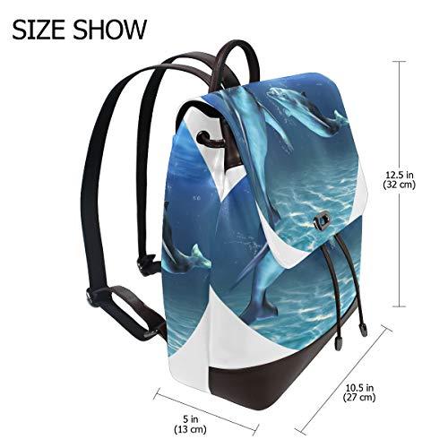 DOLPHIN Ryggsäck handväska mode PU-läder ryggsäck ledig ryggsäck för kvinnor
