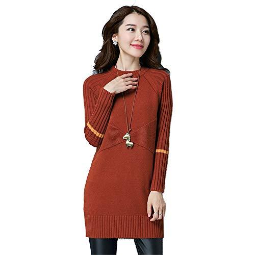Shirloy Collo Altezza Maglione Alto Donna Slim Women A Caramello Fashion Sweater Colore Con Da Lunga Warm Mezza AwAXqrT