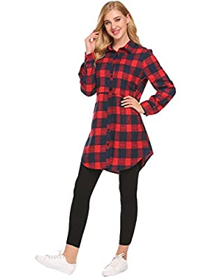 Donkap Women Buffalo Check Plaid Long Sleeve Collar Neck Casual Button-up Flannel Shirts Long Blouses
