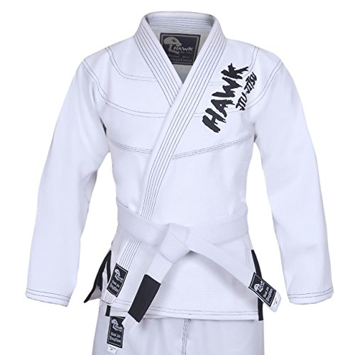 Hawk Brazilian Jiu Jitsu Suit BJJ Gi Kimonos BJJ Uniform Preshrunk Pearl Weave Fabric, with Free White Belt A3 (Cotton Drawstring Judo Pants)