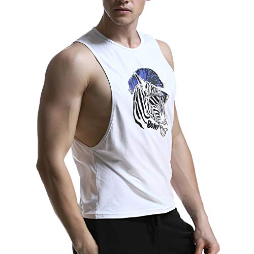 Allywit-Mens t Shirts,Sleeveless Skull Print Vest Tank Top Casual Blouse Sweatshirts Big and Tall White by Allywit-Mens (Image #3)
