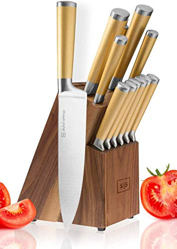 Gold Knife Set with Walnut Knife Block, 13-piece Kitchen Knives Stainless Steel Gold Knives Set, Full Tang, Knives Gold…