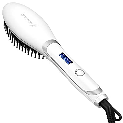 Hair Straightener Brush, Oak Leaf Ceramic Heating Anti-Scald Professional Iron Straightening Brush Detangling Electric Comb,White