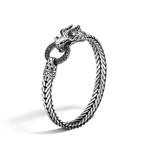 John Hardy WOMEN's Legends Naga Silver Lava Dragon Head Bracelet on Rectangular Chain (3 x 7mm) with Black Sapphire, Size M - BBS65345BLSXM (John Dragon Hardy Naga)