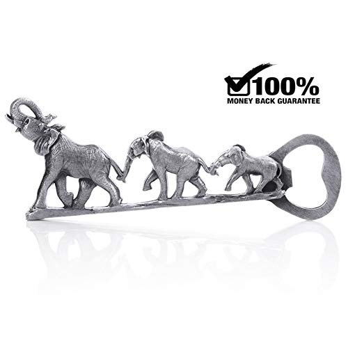 Unique Elephant Bottle Opener, Cool Personalized Elephant Beer Gifts (Antique Nickel)