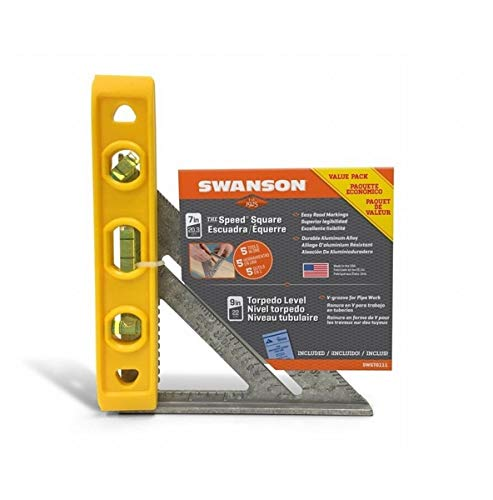 Swanson Tool Co Value Pack SWST0111 Speed Square and Speedlite 9 Inch Torpedo Level Set, includes Blue Book
