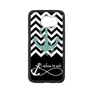 Samsung Galaxy S6 Protective Case - Black Chevron Zigzag Infinity Anchor Quotes I Refuse to Sink Design Case Cover for Samsung Galaxy S6 For Impact Protection Super Fit Samsung Galaxy S6 TPU(Laser Technology) -