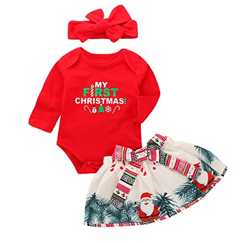 3Pcs Newborn Baby Girl 1st Christmas Romper+Skirt+Headband Outfit Clothes Set (12-18Months, Red) -