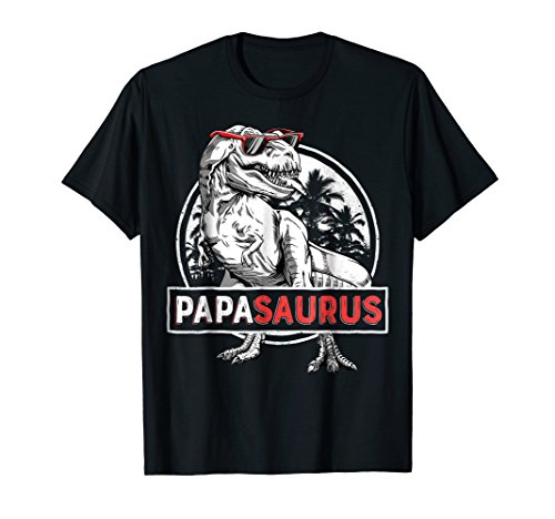 Papasaurus T shirt T rex Papa Saurus Dinosaur Men Dad Daddy ()