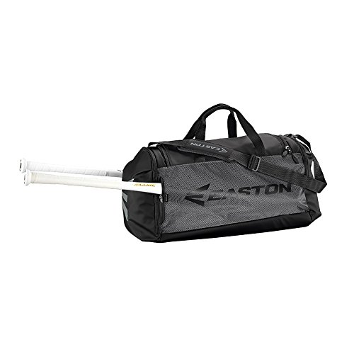 Easton E310D Player Bat & Equipment Duffle Bag | Baseball Softball | 2019 | Black | 2 Bat Sleeves | All Vented Pockets | Shoe Pocket | Main Gear Compartment -