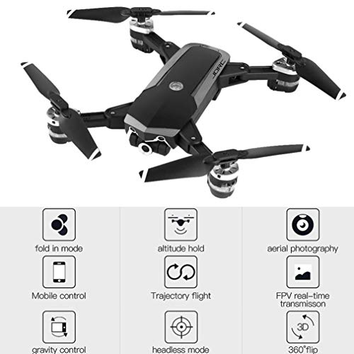 Iusun JDRC WiFi FPV RC Quadcopter, mando a distancia plegable 720P 4 canales 0,3/2 MP RC Drone para adultos niños juguetes de regalo, B-0.3MP 480P WIFI camera Wide angle, A