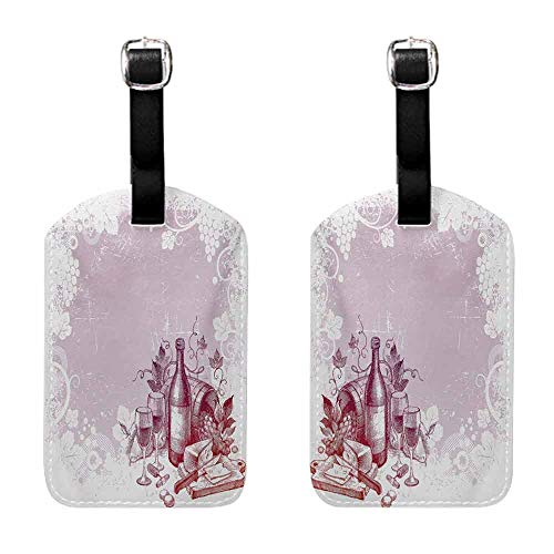 (Travel Tags 2 Pieces Set Wine,Grunge Abstract Frame Bunch of Grapes Leaves Country Drinks Food Picnic Concept,Lilac and White Getaway Luggage Tag)