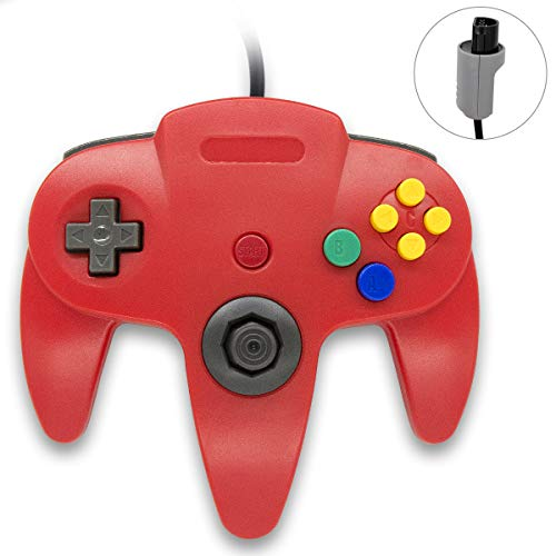 Wired Controller for Nintendo 64 N64 Console, Upgraded Joystick Classic Video Game Gamepad(1 Red) (Super Smash Bros N 64)
