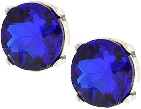 Royal Blue Earrings BC Stud Posts Antique Silver Tone Prong Set Glass Stone Approximately .75 inch Chunky