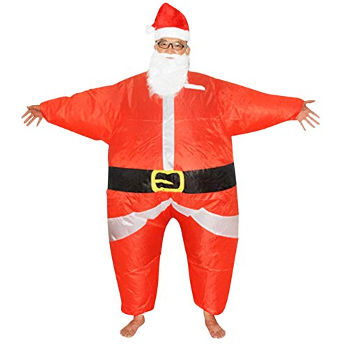 LETSQK Adult Santa Claus Inflatable Costume Beard Hat