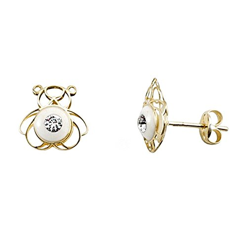 Boucled'oreille or 18k émaille ours blanc zircone [AA5497]