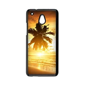 COOL phone case,For black plastic HTC One Mini case with Tropical Beach Pattern at Run horse store
